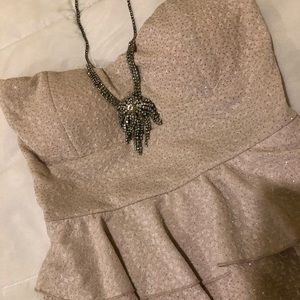 Sparkly Cream Strapless Dress